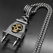 Men Heavy Silver Gold Tone Skull Plug Design 316L Stainless Steel Biker Pendant