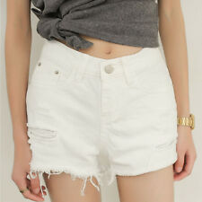 Women Loose Mid Waist Denim Jeans Hole Ripped Casual Shorts White Hot Pants