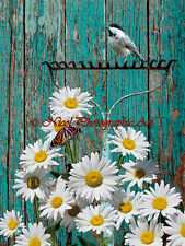 Chickadee Rake Daisy Teal Fence Country Farmhouse Home Decor Matted Picture A776