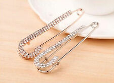 WOW New Fashion Silver Plated Crystal Pin Brooch Jewelry Brooch Large Safety Pin