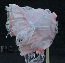 New Handmade White Eyelet with Pink Lining Baby Bonnet