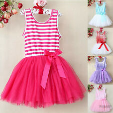Baby Girls Tutu Party Dress Princess Dance Ballet Summer Striped Jersey Tulle