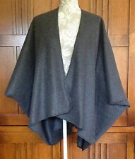 Handmade Fleece Shawl Wrap Ruana Kimono Sleeve L/XL Gray 4 Colors Topstitched