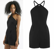TOPSHOP Black Strappy Triangle Front Playsuit NEW in RRP £45