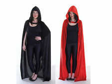 BLACK / RED HOODED #VELVET CLOAK CAPE ONE SIZE MAN WOMAN FANCY DRESS OUTFIT