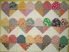 Set of 12 Scrappy Heart quilt blocks made from 1930's Reproduction cotton fabric