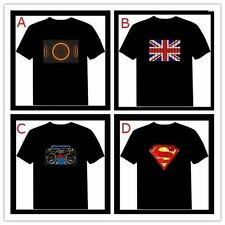 Unisex Sound-Activated Disco Rave Music Party Dance EL LED Flash Light T-Shirt