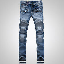 New Men France Style Distressed Motorcycle Pants Biker Light Blue JEANS B1378T
