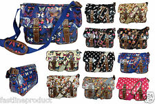 Ladies Oilcloth Satchel Cross Body Shoulder Bag School College Girls Messenger