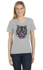 Neon Dripping Tiger - Cool Wild Cat Image Hipster V-Neck Women T-Shirt Novelty