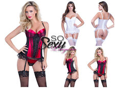 Sexy Women's Molded Satin Cup Bustier with Lace Overlay lingerie Bridal Set
