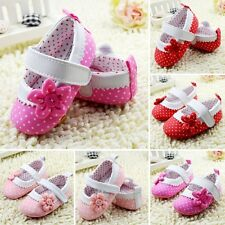 Infant Girl Dot Flower Kids Baby Shoes Toddler Soft Sole Crib Shoes 0-18M