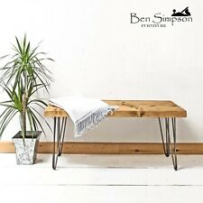 Rustic Chunky Wooden Bench Metal Hairpin Legs Handmade Garden/Kitchen/Dining