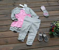Baby Little Girl Spring Fall Gray Layered Long Sleeve Dress+Pant+HairBand Sets