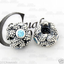 Authentic Solid 925 Sterling Silver Sea Star Light Blue Cz European Charm