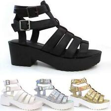 NEW WOMENS LADIES GLADIATOR CUT OUT SANDALS PUNK PLATFORM CHUNKY BLOCK HEEL SIZE