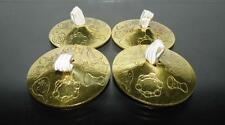 Set of 4 (2 Pairs) Brass Finger Cymbals Zills Belly Dance Dancing Costume Party