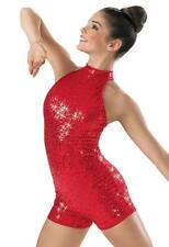NEW Dance Costume Adult Red Sequin Unitard Jazz Sassy Solo Competition Pageant