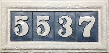 White Limestone coral stone faux address plaque. Includes handmade tiles