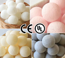 35 PLAIN COLOR TONE COTTON BALL CE UL STRING LIGHTS BEDROOM WEDDING PATIO PARTY