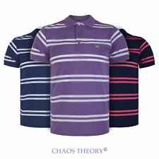 Mens Collared Summer Polo T Shirt Short Sleeve Contrast Double Stripe Top S-XXL