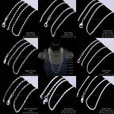 925 Sterling Silver 1-4mm Necklace Chains 16-30'' Ball Box Curb Snake Wholesale