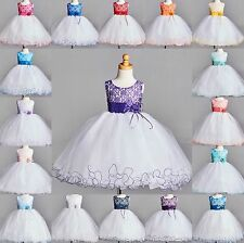 NEW Lace Tulle Dress S M L XL 2 4 6 8 10 12 14 Flower Girl Wedding Easter Party