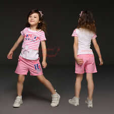 2-Piece Baby Girls Summer Outfit Toddler Short Sleeve Striped T-shirt Pants Set