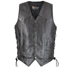 Xelement VE Embossed Eagle Head Stars Motorcycle Leather Vest with Gun Pocket