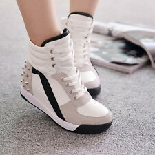 New Hot sale Womens Sneakers Fashion High Top Rivet Trainer Shoes Mid Wedge Heel