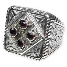 Gerochristo 2564 ~ Sterling Silver & Stones- Medieval Byzantine Large Ring