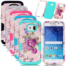 Flower Pattern PC Silicone Combo Matte Rugged Cases For Samsung Galaxy S Series