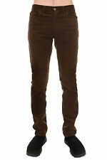 Men's 60's Indie Mod Retro Vintage Brown Corduroy Slim Skinny Fit Jeans