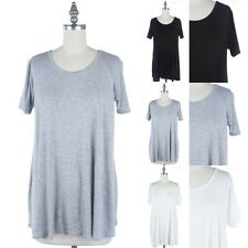 Short Sleeve Scoop Neck Basic Solid Tunic T Shirt Casual Easy Wear S M L XL