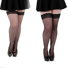 Fancy Black Plus Size Fishnet Lace Top Thigh High Hold Ups Stay Ups Stockings