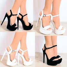 BARELY THERE STRAPPY STILETTO SANDALS PLATFORMS PEEP TOES HIGH HEELS SHOES SIZE