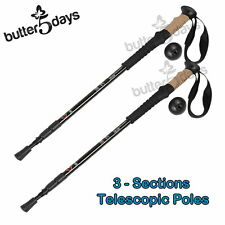 New 2x Black Trekking Walking Hiking Stick Pole Alpenstock Adjustable Anti-Shock