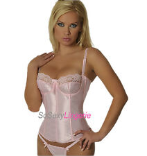 So Sexy Lingerie Satin Boned Underwired Corsellete Training Corset 32-38 Pink