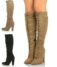 New Ladies Womens Block Chunky High Heels Knee Boots Lace Up Sexy Shoes Size UK