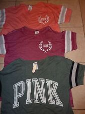 VICTORIAS SECRET PINK BLING WREATH PINK SCOOPNECK TEESHIRT CHOICE NWT