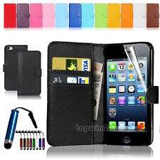 Leather Flip Wallet Case Cover For Apple iPhone Samsung Galaxy +Screen Protector