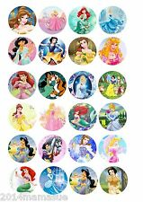 24 x DISNEYS PRINCESS FAIRY / COOKIE / CUPCAKE TOPPERS WAFER CARD RICE PAPER