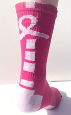Elite Pink Breast Cancer Awareness Athletic Crew Socks - Basketball Volleyball