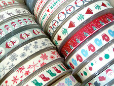 3 metres of 15mm wide Cotton Christmas Ribbon - 30 designs available