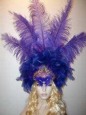 XL Showgirl Samba Parade Pagent Costume Rhinestones Feather Headdress Headpiece