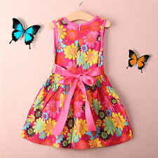 Toddler Kids Girls Summer Princess Floral Lace Pierced Party Dress Age 2-7Y