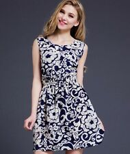 Hot Summer Women Casual Bohemian Floral Sleeveless Beach Chiffon Dress UK S 8&10