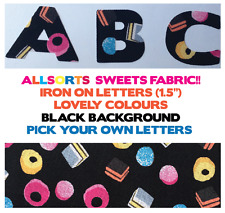 """IRON ON Fabric LETTERS!*ALLSORTS SWEETS!* Size 1.5""""! Multi Listing! *NEW*"""