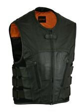 MEN'S MOTORCYCLE BIKER UPDATED TACTICAL SWAT STYLE SOFT LEATHER VEST NEW BLACK