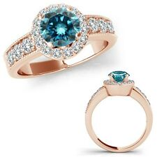 1.50 Carat Blue Diamond Solitaire Halo Wedding Bridal Ring Set 14K Rose Gold